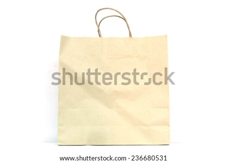 Blank brown paper bag  on white background - stock photo