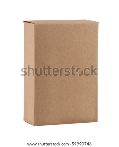 Blank brown product box with front copy space - stock photo
