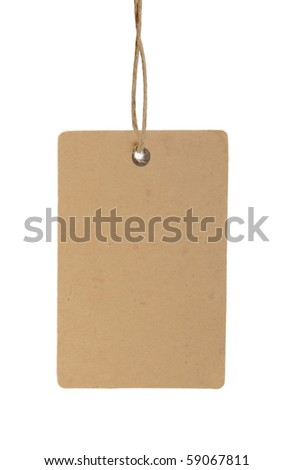 Blank brown tag tied with brown string. - stock photo