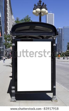 Blank Bus Stop Advertisement - stock photo