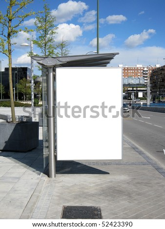 Blank Bus Stop Billboard - stock photo