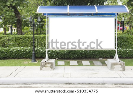 blank bus stop sign and beautiful garden