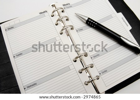 Blank business agenda  ready for writing