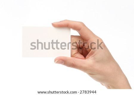 Blank business card. Add your own text. Female hand - stock photo