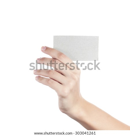 Blank business card in a female hand. Concept - stock photo
