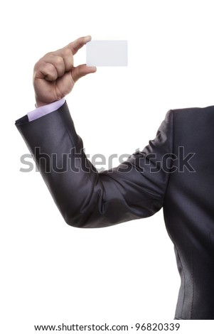 Blank business card in a hand Isolated on white background - stock photo