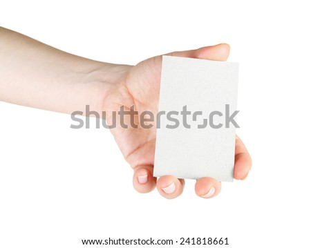 Blank business card in hand. For design presentations and portfolios. Isolated on white. Clipping path. - stock photo