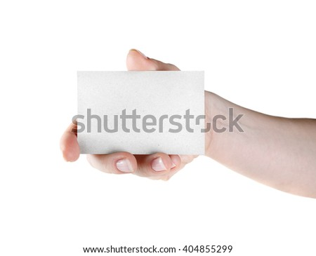 Blank business card in hand. Isolated on white. Blank template for branding identity for design presentations and portfolios. - stock photo