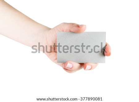 Blank business card in hand. Isolated with clipping path on white background. Template for design presentations and portfolios.
