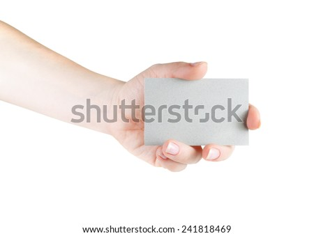Blank business card in hand on white background. For design presentations and portfolios. Isolated on white.