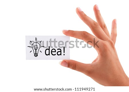 blank business card in his hand a woman - stock photo