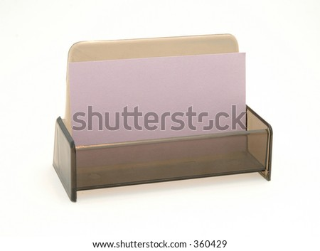 Blank Business Card in holder, suitable for adding your advertisement.