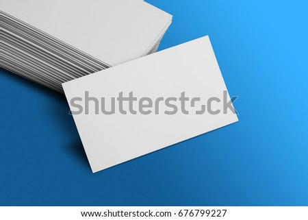 Blank business card mockup on blue stock photo royalty free blank business card mockup on blue background reheart Choice Image