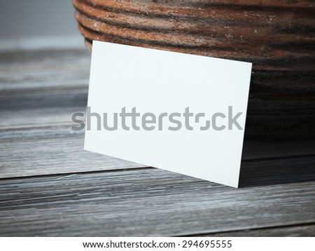 Blank business card on the table - stock photo