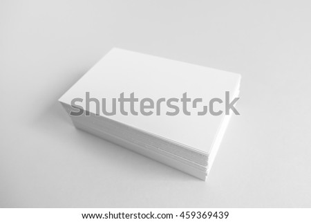 Blank business card, postcard with soft shadows