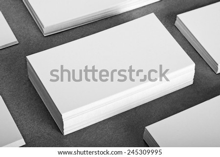 blank business cards, identity design, corporate templates, company style - stock photo