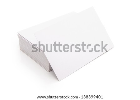 blank business cards stack up on white with clipping path, good for text & logo - stock photo