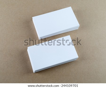 Blank business cards with soft shadows. Template for ID. Top view. - stock photo