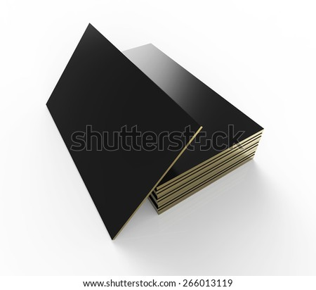 Blank business identity card. Black cards with golden edges. - stock photo