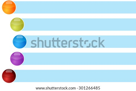 blank business strategy concept infographic diagram curved bullet list items illustration Five 5 - stock photo