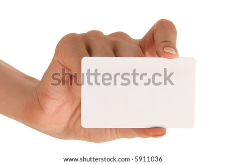 blank businesscard in woman's hand - stock photo