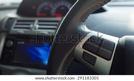 blank button control system on car steering wheel used for placed icon - stock photo