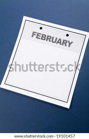 Blank Calendar, February, with blue background
