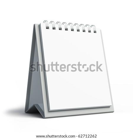 Blank calendar isolated on white - stock photo