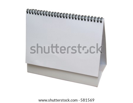Blank calendar isolated on white with clipping path - insert your own design