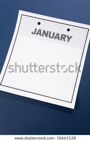 Blank Calendar, January, with blue background
