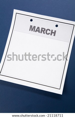 Blank Calendar, March, with blue background