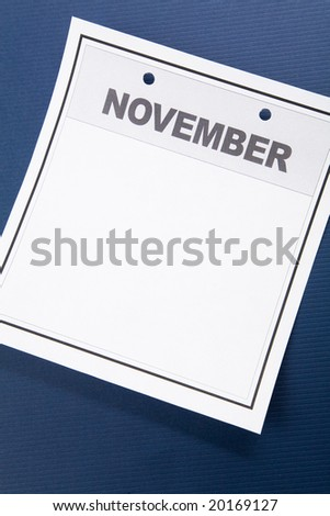 Blank Calendar, November, with blue background