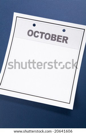 Blank Calendar, October, with blue background