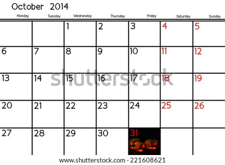 Blank Calendar of October, 2014  - stock photo
