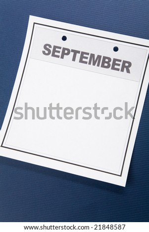 Blank Calendar, September, with blue background