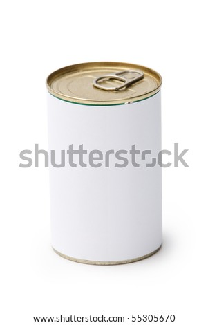 Blank canned food on white background