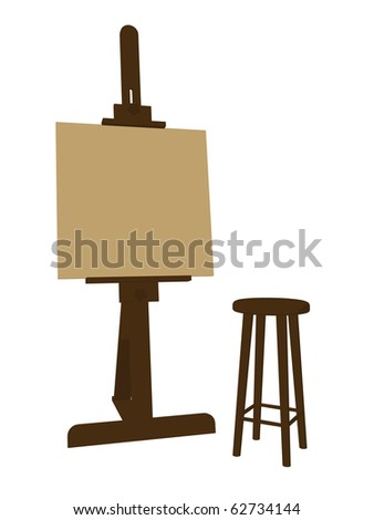 Blank canvas on an artist easel with a stool on a white background - stock photo