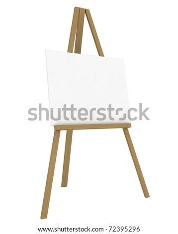 Blank Canvas on an Easel Isolated on White - 3d illustration - stock photo