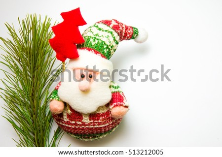 Blank card for Christmas greetings. Christmas tree branch with Santa Claus. Free space for text.