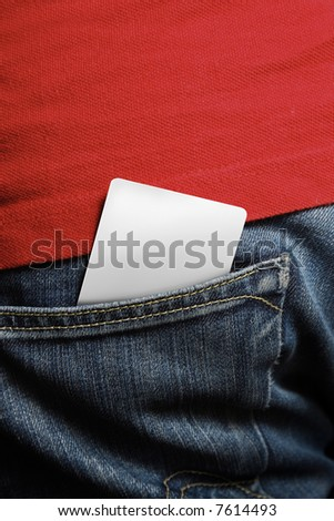 Blank card in a mans back pocket - insert your own design for any card design such as school, member, club, credit or debit cards - stock photo