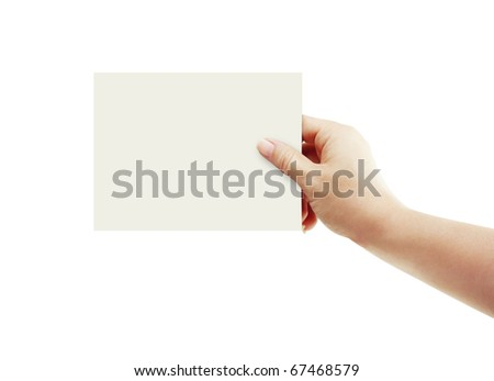 Blank card in hand - stock photo
