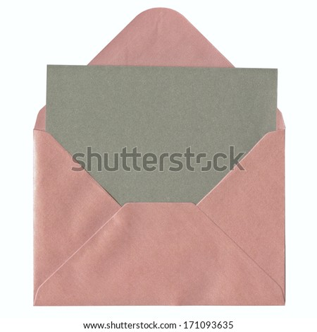 Blank card in pink envelope, isolated on white background