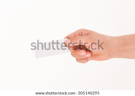 Blank card is handed by man isolated on white background. Man giving hand to someone with his right hand. - stock photo