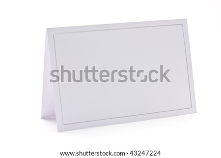 Blank card isolated on white background. Invitation,place card,name card,gift tag, thank you card,etc. - stock photo