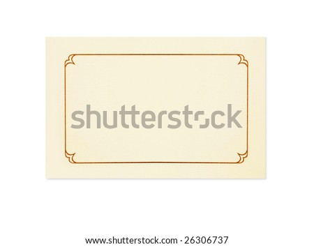 Blank card, isolated on white.  Could be a place card, name card, gift tag, thank you or invitation. - stock photo