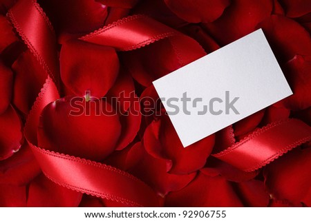 Blank card on rose background - stock photo