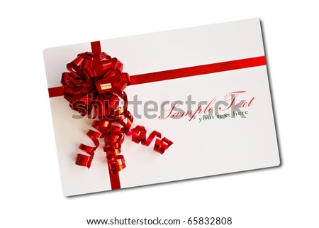 Blank card tied with a bow of red ribbon. Isolated on white, with soft shadow. - stock photo