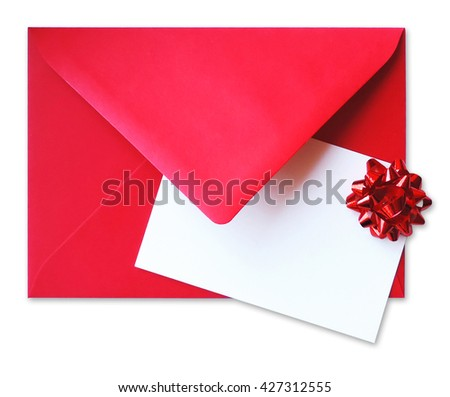 Blank card whit bow on a red envelope, isolated on white