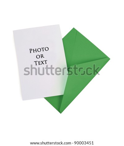 Blank Card with Green Envelope - stock photo