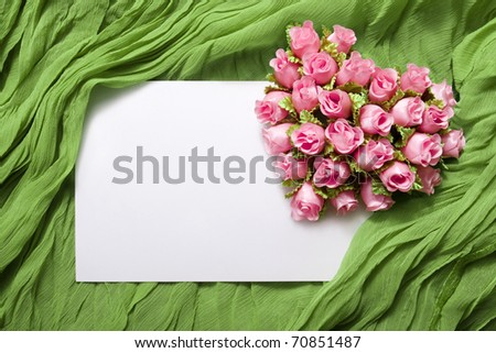 Blank card with roses - stock photo